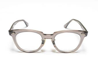 vintage 50s 60s eyeglasses wayfarer safety glasses gray clear plastic frames Titmus USA 1950 1960 eyewear