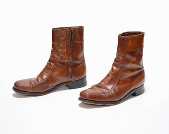 mens vintage boots 70s Florsheim Chelsea boots caramel brown distressed leather Beatle boots 1970 mod boots 7.5 7.5D