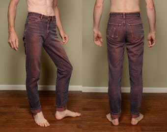 purple pink acid wash jeans vintage 80s acidwash jeans straight skinny leg denim 1980 vintage Dweedo jeans 29 29L long 29x33