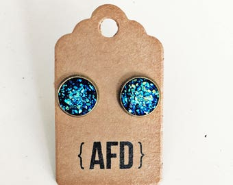 Dazzling blue faux druzy earrings | small sized