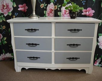 Mid Century Dresser Hand Painted Gray and White Furniture Bedroom