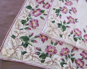 Hankie Beautiful White Purple Floral Cotton Vintage Hankie Handkerchief - New Unused