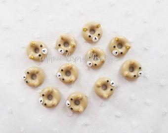 5pcs - Cute Kuma Bear Iced Doughnut Mix Decoden Cabochon (18mm) DNT009