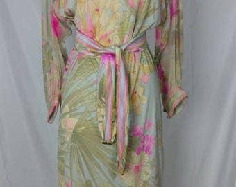 Vintage Leonard Paris 80s Silk Jersey Floral Dress w Pink Orchid Print & Chiffon Sleeves