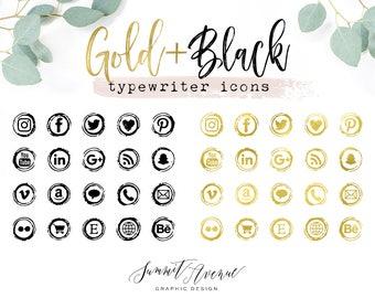 Gold Foil & Black Type Writer Keys Social Icons for your blog or website - Gold Vintage Typewriter Social Media Icons