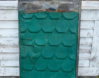 Metal Embossed Roof Shingle Large Vintage Tile Painted Scalloped Panel Tin Rusty Chippy Architectural Salvage Repurpose Restore Art Collage