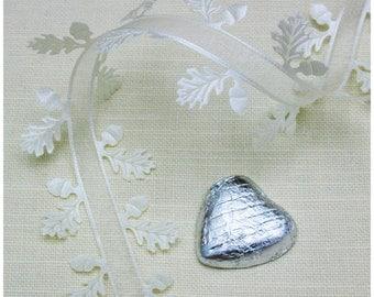 Ivory Oak leaf edged ribbon trim with sheer center.