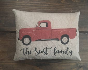 Personalized family name Red Truck Feedsack Accent Pillow
