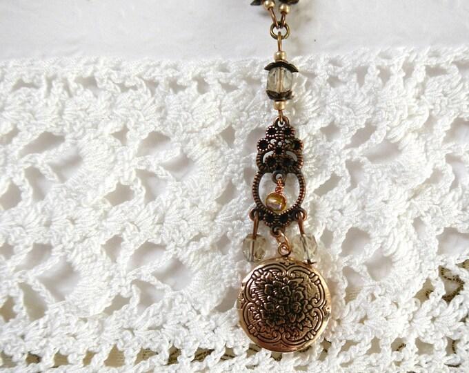 personalized locket necklace, round locket, brass locket, romantic locket, beaded necklace, czech glass bead necklace, locket pendant