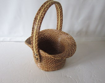 reserved..SALE...PINE needle BASKET..gorgeous mint condition..hand made basket