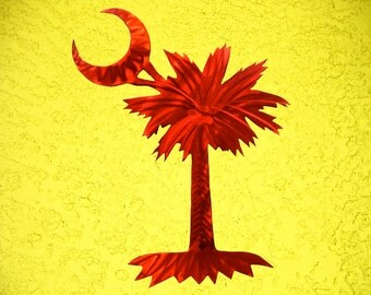 Palm Tree Metal Art, South Carolina Flag, Large Outdoor Metal Wall Art Sculpture Palm Tree Wall Art Outdoor Metal Wall Art Sculpture