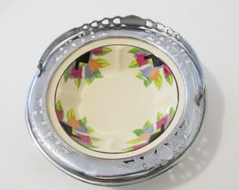 Art Deco Umbertone Farberware Serving Bowl Basket Ornate Chrome with Handle- FL