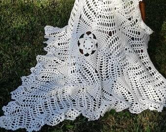 Heirloom Crocheted lacy baby blanket