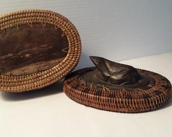 vintage coiled woven basket | Lombok Island basket with black frog finial lid | vintage ebony frog and woven wooden box | vintage black frog