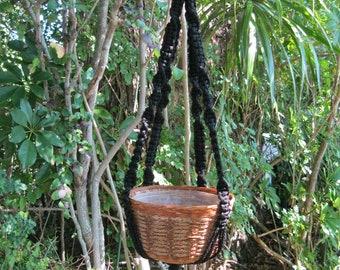 Black 36 Inch No Beads Macrame Plant Hanger