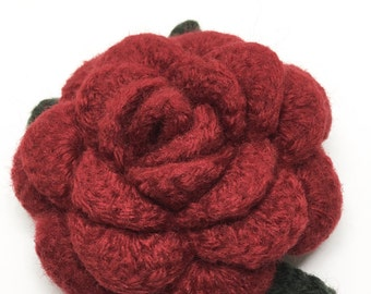 Felted Wool Rose Flower Brooch in Cranberry Red with dark green leaves