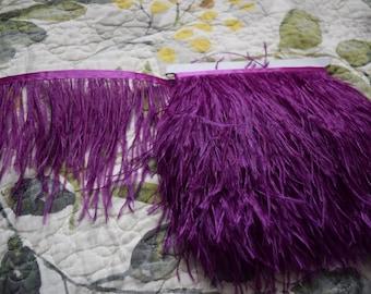 10 yards Ostrich Feather Fringe trim 10-15 cm (4-6 inch), plum