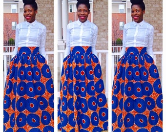 Sky Blue African Ankara Maxi; African clothing; African Maxi skirt; African dresses for women; African clothing for women; Ankara; African