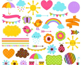 Sunshine & Showers Clipart Set - digital elements - borders, arrows, frames, bunting - personal use, small commercial use, instant download