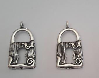 4 Sterling Silver Padlock Pendant Charms Smal, Medium, Large Sizes