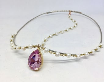 Princess Crown - Genie Crown - Cosplay Crown - Boho Crown - Festival headpiece - Pink Rhinestone Crown - Circlet
