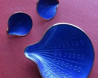 On Sale Antique Finn Jensen Norway Sterling And Enamel Sea Shell Brooch And Earrings Set