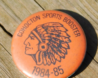 Vintage 1984-85 Cohocton High School Sports Booster Pin Pinback Button Dr37