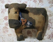 primitive cow-shelf sitter-spotted cow-barnyard-primitive animals-farmhouse decor-cow bowl filler-farm decor-rustic