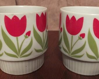 Vintage Tulip Stacking Coffee Mugs Set Of 2