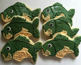 Fish sugar cookies, fishing gifts, fishing gifts for men, fish birthday, fathers day gift, gifts for dad, decorated cookie, bass fish, bass