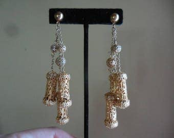 Vintage Gold Tone Filigree Extra Long 1960s to 1970s Retro Earrings Pierced Chains Dangles Updated Ooak