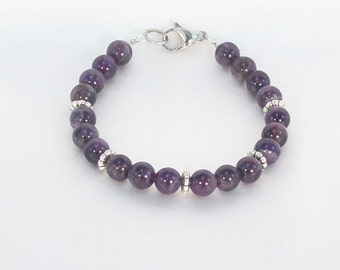 Beaded bracelet, amethyst jewelry, gemstone bracelet, hypoallergenic jewelry