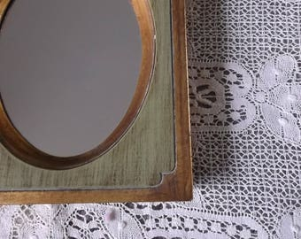 Vintage antiqued green and gold mirror, wood wall mirror small