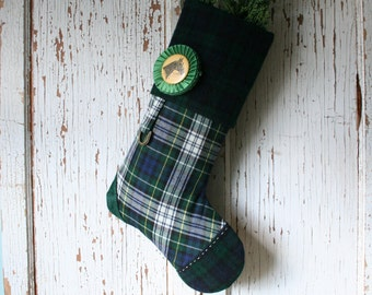 Tartan Equestrian CHRISTMAS STOCKING, with Prize Ribbon Rosette