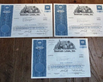 3 authentic Stock Certificates for Seatrain Lines, Inc., 1970 and 1971 ~ FREE SHIPPING