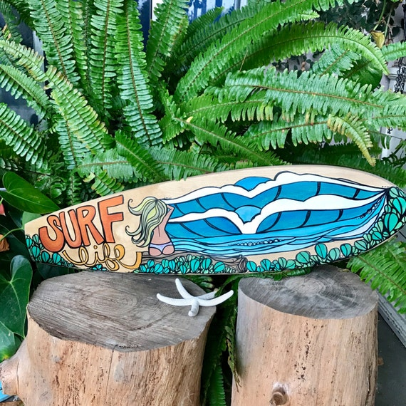 Original Art on Wood Skateboard Surf Art by Lauren Tannehill Art