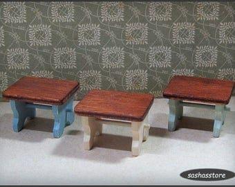 Dollhouse footstool 12th scale miniature, handmade wood footstool for the dollhouse kitchen or garden, fairy garden