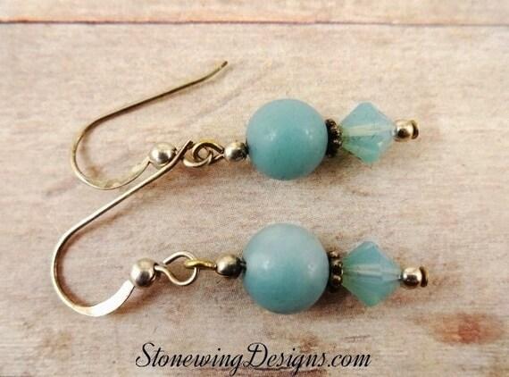 Amazonite and Swarovski Crystal Earrings