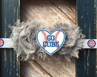Chicago Cubs Go Cubs Shabby Chiffon Gray Flower Headband Fabric Babies, Toddlers, Girls