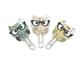 Owl planner clips, bookmark, page clips, Diary clips, teacher accessories, paperclips, planner organizer, agenda clips,