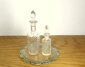 Vintage Glass Vanity Tray with 2 Perfume Bottles Clear Glass Bottles Retro Vanity Decor 1950s