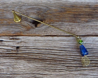 Brass Candle Snuffer with Glass Beads and Filigree Heart Swivel Headed Candle Extinguisher 1980s Home Decor