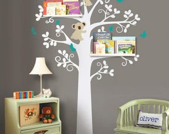 Tree, Koalas and Butterflies - Nursery Wall Decal