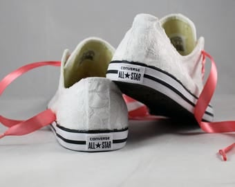 Bridal Converses --Lace Converse -- Wedding Tennis shoes  - Wedding Converse