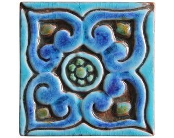 Decorative tile with Mandala design, Ethnic tile, Ceramic tile, hand painted tile, Decorative tile, ceramic tiles, 8cm, square, Turquoise