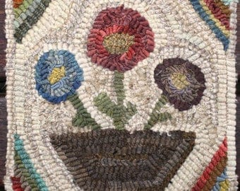 Primitive Wool Folk Art Hooked Rug Penny Basket