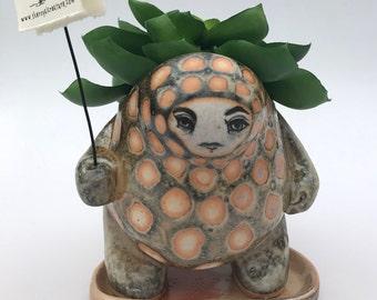 Orange Scaled Creature Pot