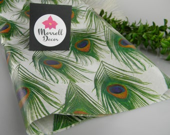 Peacock Feather Print Tissue Paper Sheets - Peacock Gift Wrapping Paper - Craft Tissue DIY decor - Peacock Wedding Supplies - 12 sheets