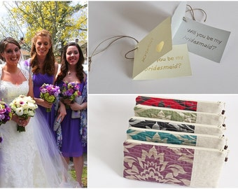Will You be My Bridesmaid Set of 5, Personalized Bridesmaids Gifts Mismatched Linen Clutches