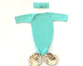 Mermaid Baby Gown Mint